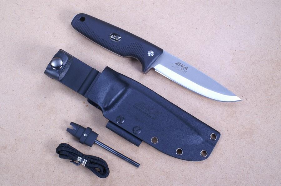eka messer nordic w12 schwarz inklusive tool zum sch rfen und feuer starten kaufen. Black Bedroom Furniture Sets. Home Design Ideas